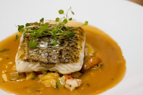 Wild Striped Bass with Seafood