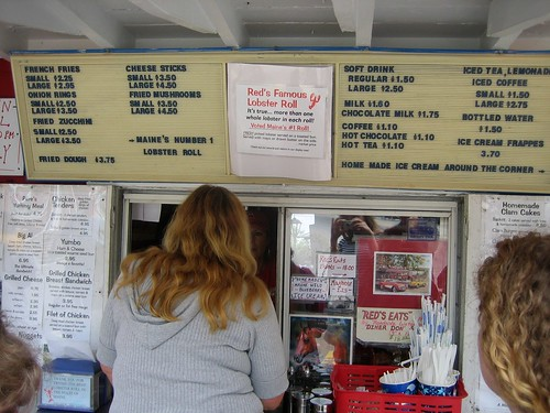Redd's Menu Board in Wiscasset, Maine