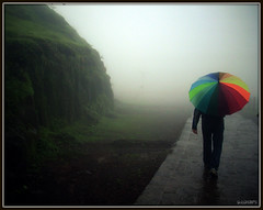 Walk with a rainbow... [FRONT PAGE EXPLORE #4] (D a r s h i) Tags: trees cloud mist mountains nature colors rain fog clouds umbrella dark walking evening rainbow colorful colours path walk rainy monsoon killa rasta pune raigad barish darshi chatri