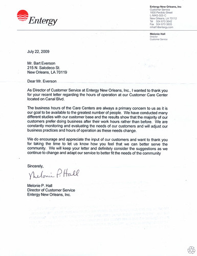Entergy Writes Back
