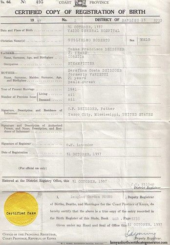 kenyan birth certificate