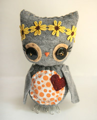 Flower Owl (Skunkboy Creatures.) Tags: flowers bird handmade plush owl etsy skunkboycreatures