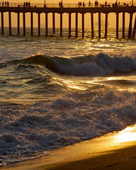 shore break waves (jst images) Tags: california ca sunset reflection beach water silhouette pier sand waves orangecounty oc huntingtonbeach hb feelsgood justimages thisfeelsgood jasontockey jstimages