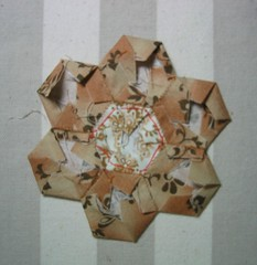 English Paper Piecing.06 (Minkas Studio) Tags: brown flower english garden paper beige hand quilt gray tan ivory quilting hexagon block patchwork epp grandmothers basting pieced handpieced piecing grandmouthers