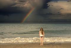 Contemplating..... (Nicolas Valentin) Tags: uk sea england cloud beach water girl rainbow sand norfolk marnie walcott abigfave