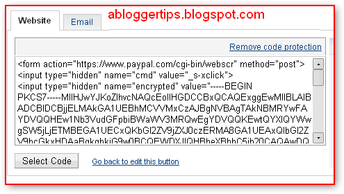 add paypal donation buttom  in blogger.com blog