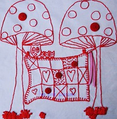 the quilt project (**tWo pInK pOSsuMs**) Tags: red mushrooms embroidery buttons stitchery owls redwork thequiltproject