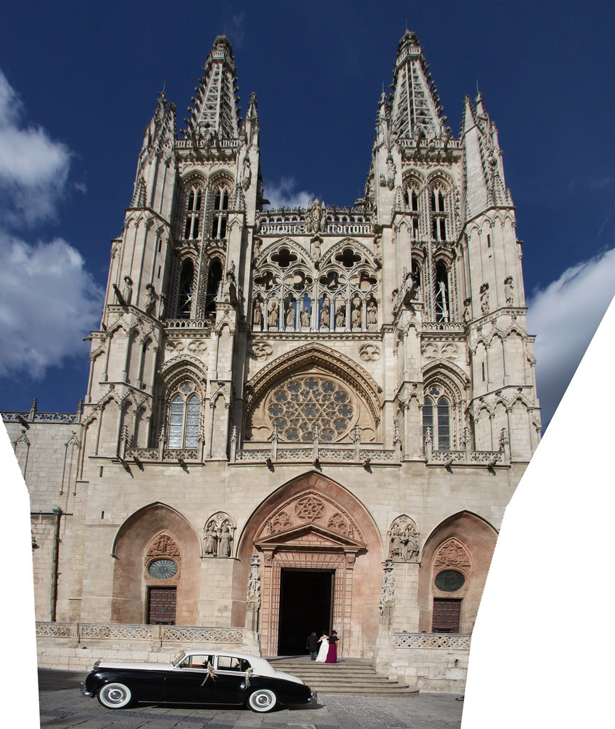 Rolls Royce Bride Burgos Cathedral Panorama
