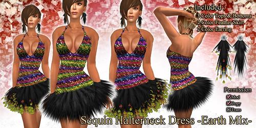Sequin Halterneck Dress (Earth)