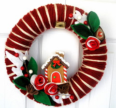 Candy Cane Yarn Wreath (KnockKnocking) Tags: christmas red white house holiday cane festive candy stripes traditional gingerbread icing frosting knockknocking