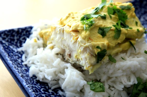 saffron coconut halibut
