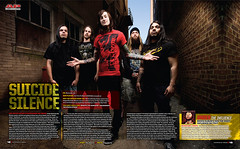 Suicide Silence for Alternative Press (www.gageyoung.com) Tags: suicide silence alternative press ap gage young canon 5d 1740mm adam elmakias augusta georgia alley magazine spread two pages alien bee text band metal publication published