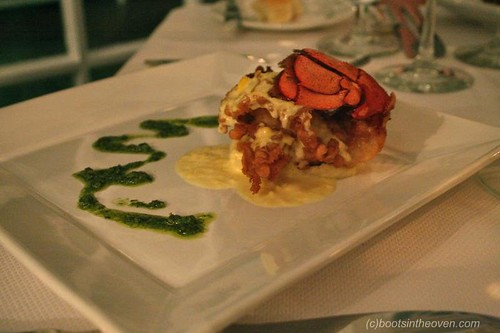A Tempura Lobster Tail With Lobster-Brandy Mashed Potato, Sweet Corn Nage and Chimichurri