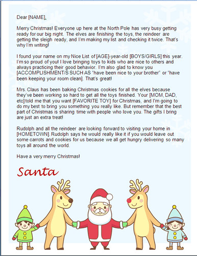 printable christmas letter from santa - reindeer holding hands