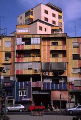 Tirana (Albania) - Colourful block (๑۩๑ V ๑۩๑) Tags: city architecture modern europe contemporary capital balkans albanian albania balkan tirana shqiperia tiranë balkanexperience ilobsterit