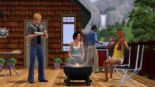game Sims 3 bbq fire