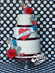 Sailor Jerry Tattoo Cake (Jen's Cakery) Tags: wedding rose cake tattoo vintage heart retro rum bluebird sailorjerry jenscakery jennycoopercakes
