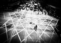 escape   (liver1223) Tags: china road street city 2 urban blackandwhite bw cars bicycle photo interestingness interesting snap front hong kong explore page intersection greater gr kowloon mongkok ricoh grd explored blackwhitephotos