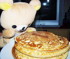 HMM... PANCAKES!! (Miss Thundercat) Tags: food pancakes yummy sweet handpuppet rilakkuma cutekawaii