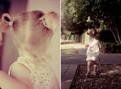 love baby soft (Le Fabuleux Destin d'Amélie) Tags: vintage baby clothes pigtails rosegarden run summer evening 50mm pentax toddler child girl ga095 two little blonde kid replaceddip