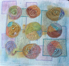 Sheer spirals embroidery (jillyspoon) Tags: abstract gold stitch spirals embroidery mixedmedia circles nine textiles shiva organza sheer machineembroidery goldthread markal freemotion paintsticks canon450d goldembroidery ninecircles embroideredcircles embroideredorganza oilpainsticks 9circles