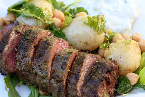 Chargriled lamb with lemon potatoes and tzatziki