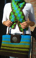 crochet brown, green, blue scarf