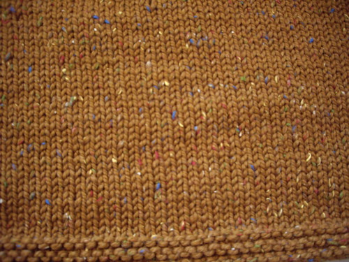 Garter stitch hem and stockinette body