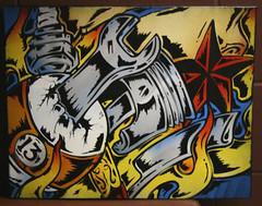 tattoo13 (>tony<) Tags: street original art tattoo painting stencil flames culture canvas lucky spraypaint custom 13ball
