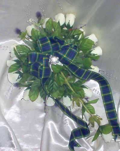 """tina 6"" scottish themed teardrop with gordon tartan bow and silver bling by you."