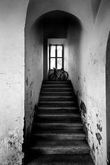 Stairs and Bike (fabio c. favaloro) Tags: blackandwhite bw italy rome bike stairs nikon bn ardea 2009 biancoenero d300 nikond300 fabiocfavaloro theemptyplaces