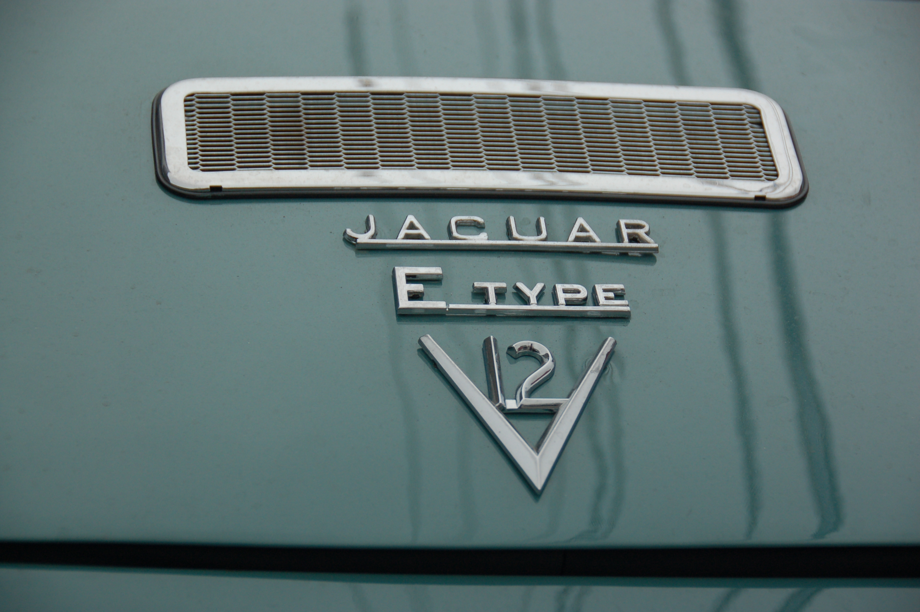 Old Jaguar E-type sports car: