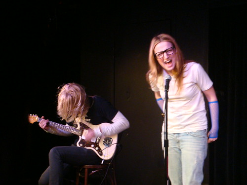 "performing ""doll parts"" at UCB theatre with adam on his fender jazzmaster"