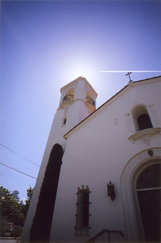 church with airplane track