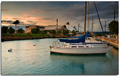At Ease (JN) Tags: sunset water boats hawaii harbor pier dock peace oahu tranquility calm east sail rest 1735mmf28d hickam d700 nikon1735mm nikond700 nikon1735mmf28