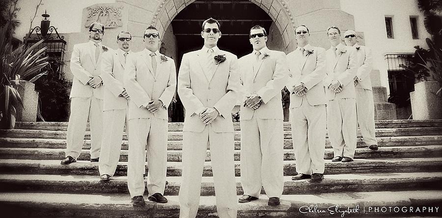 santa barbara sunken gardens courthouse groomsmen vintage portrait