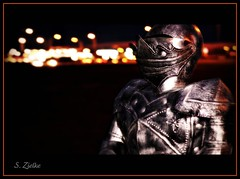 """Knight of the Night"" - EXPLORED with thanks! (Sheree (Here intermittently)) Tags: nightphotography trafficlights night canon photography lights nightlights edmonton nighttime alberta armor knight picnik instructor sleepdeprivation suitofarmor a canon50d shereezielke albertaphotographer edmontonphotographer characterplayer knightofthenight marthasvine copyrightshereezielke"