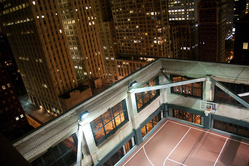 A basketball court on a NYC rooftop