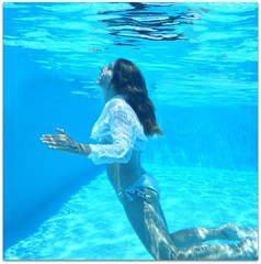 Surfacing (sosij) Tags: blue woman selfportrait water swimming self turkey underwater trkiye underwaterselfportrait