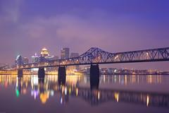 Louisville, KY (~joe payne~) Tags: bridge skyline reflections puente dawn lights luces kentucky ponte pont louisville luzes reflexions ohioriver reflejos llums canonef50mmf14usm reflexes sooc karmapotd karmapotw