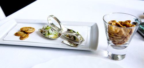 Canapes and toasted fava beans