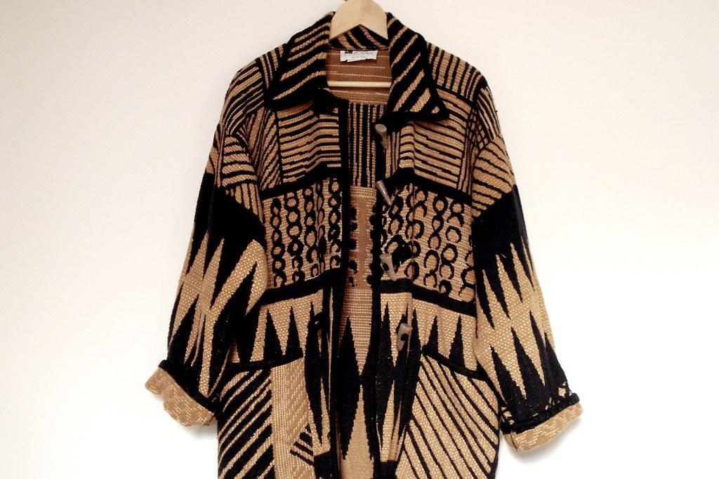 vintage oversized ethnic print cardigan