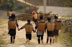good friends..... back (Rosanna Leung) Tags: people children village path vietnam sapa blackhmong 苗族 兒童 越南 村莊