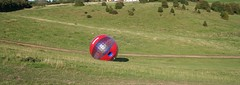 zorbing 035 (bristolsurfer) Tags: ball downhill inflatable sphere chepstow rolling zorbing zorb sphering harnessride