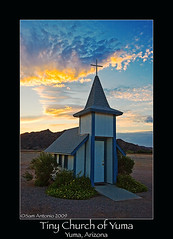 """Little Church, Big Faith"" (Sam Antonio Photography) Tags: travel sunset arizona church clouds worship cross god faith prayer religion jesus stop bible rest farmer yuma hymns yumaaz 5photosaday canon50d samantonio samantoniophotography canonefs1022lens"