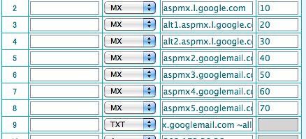 Google Apps DNS設定