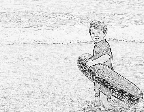 beach pencil sketch