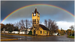Rainbow (glness) Tags: sunset church rain minnesota misty rainbow mainstreet cloudy broadway rainstorm drizzle lateafternoon ottertailcounty pelicanrapids singleexposure canon5dmarkii gregness