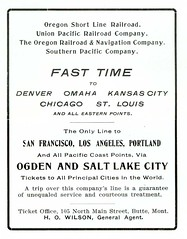 sanfrancisco railroad bw chicago train ads portland losangeles montana butte stlouis denver kansascity saltlakecity wilson unionpacific omaha advertisements ogden pamphlet southernpacific silverbow ticketoffice 1901 butteamerica 19001909 buttefiredepartment oregonshortline buttesilverbowpubliclibrary buttepubliclibrary bsblibrary buttedigitalimageproject petersanger wwwbuttepubliclibraryinfo nmainbuttemt peoplespubco oregonrailroadnavigation howilson
