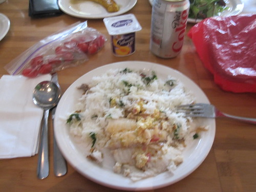 Tilapia and rice, tomatoes, yogurt from home, Diet Coke from the vending machine - $1.25